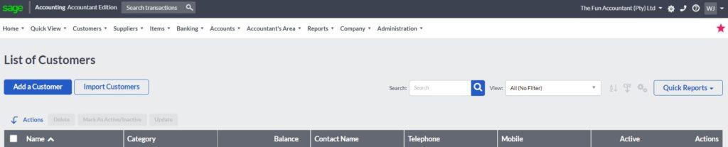 Sage Cloud Accounting customer list fields