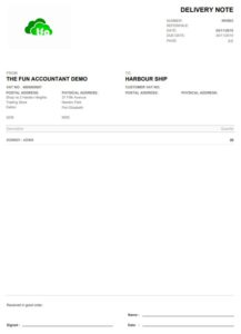 Sage delivery note with invoice