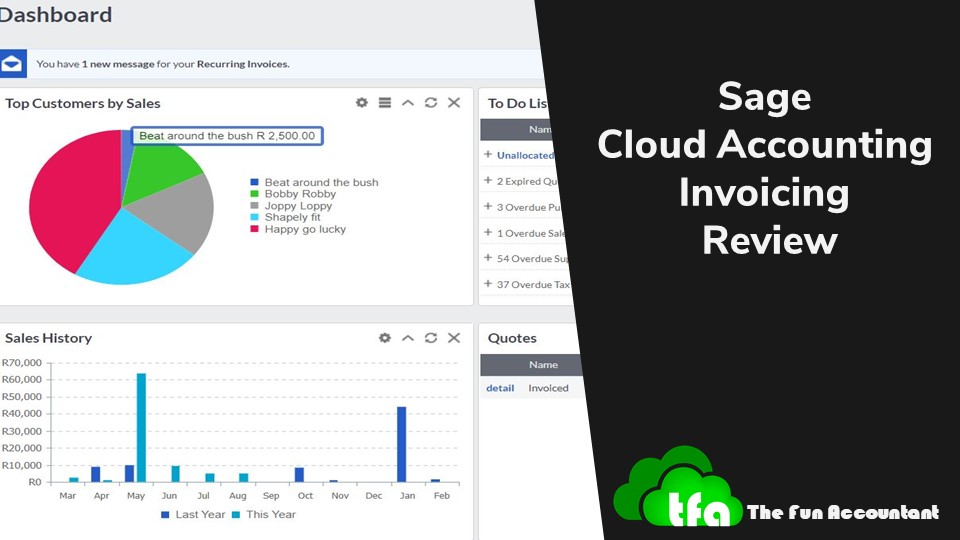 Sage cloud accounting invoicing review by the fun accountant