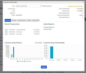 Sage Cloud Accounting customer quick view