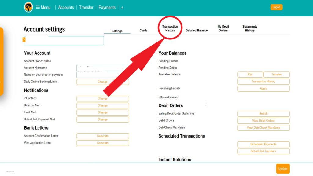 FNB Select transaction history