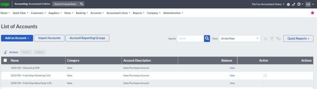 sage accounting list of accounts to add an account