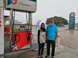 Ismail & Tameenah at fuel pump