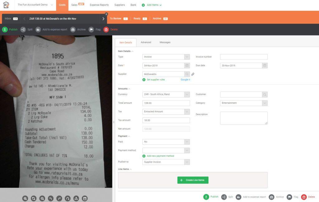 receipt bank invoice in inbox
