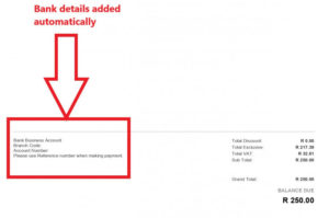 add bank details to an invoice in sage
