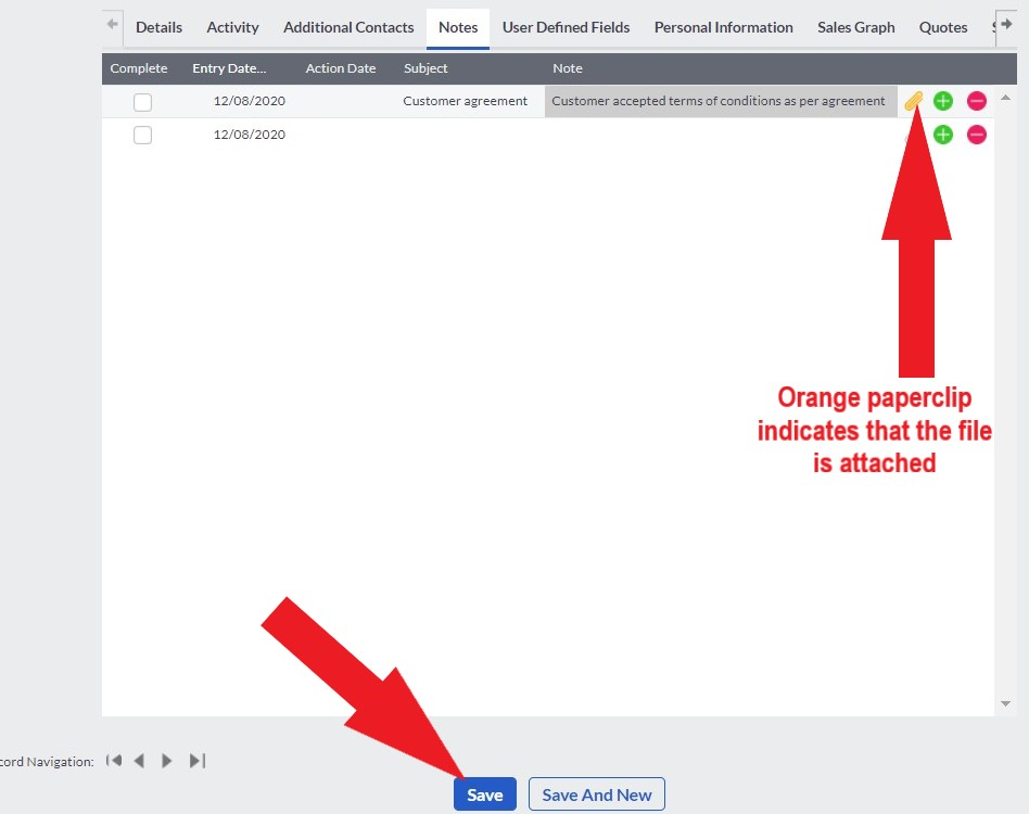 save attachment to sage customer notes