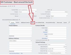 sage edit customer screen select notes