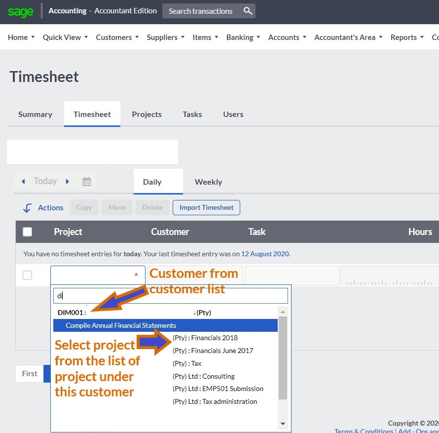 sage cloud accounting time tracking select customer & project