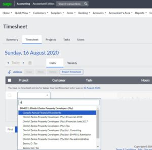 sage cloud accounting time tracking select customer and project