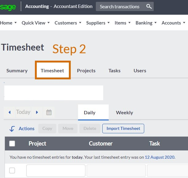sage cloud accounting time tracking step 2