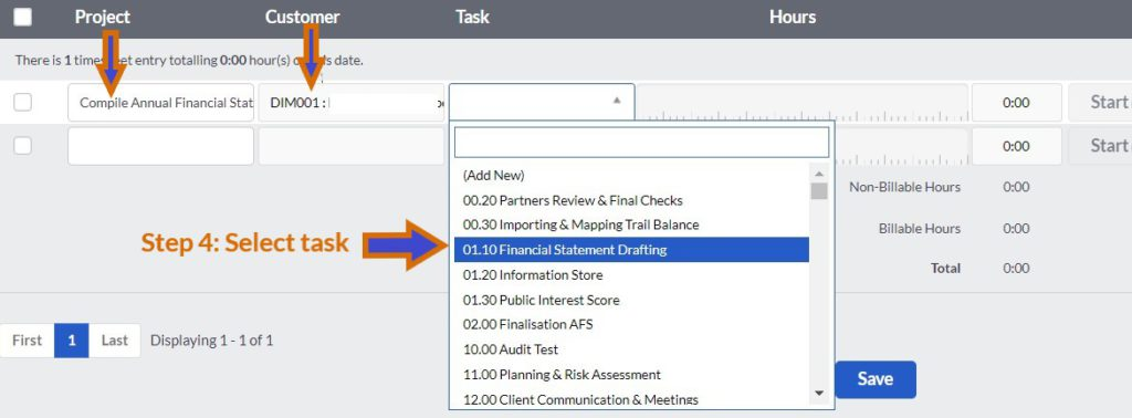 sage cloud accounting time tracking select task