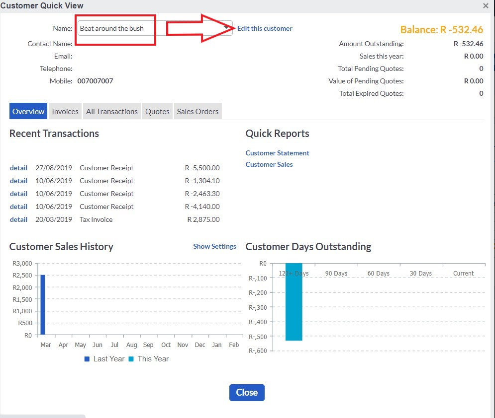 sage select customer and edit