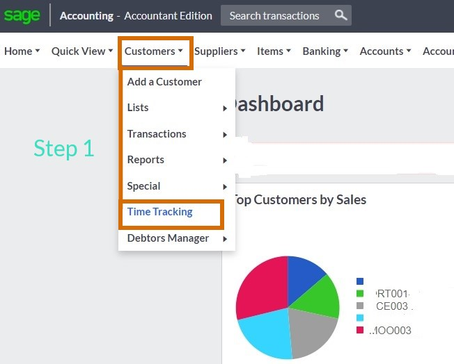 Sage cloud accounting time tracking step 1