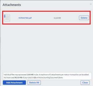 sage transaction file attachment